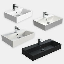Keramik Waschtisch Waschbecken Aufsatzwaschtisch weiß schwarz 50/ 60 / 70/ 90 cm