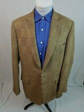 PAUL STUART Brown WOOL SILK LINEN 2-Button Unstructured Sport Coat Blazer 43L
