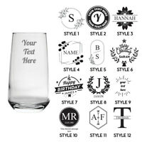 Personalised Engraved Tall Glass Your Own Text Etched Glassware Gift