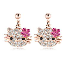 Hello Kitty Cat 18 k Rose Gold Plated Austrian Crystal Diamonique CZ Earrings