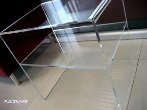 Tavolino Comodino in Plexiglass Brillante 35x33x40H con mensola spessore 8mm