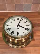 Large Vintage Brass Ships Clock Working GB Nautical Maritime Marine Boat