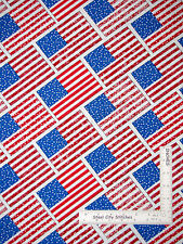 Patriotic American Flag Diagonal Cotton Fabric HG&Co Let Freedom Ring - Yard