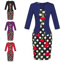 Womens Elegant Floral Wear to Work Office Lady Bodycon Party Casual Pencil Dress