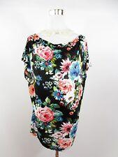 H&M Women's Black Floral Short Sleeve Casual Blouse Oversized UK 12 Medium BH48