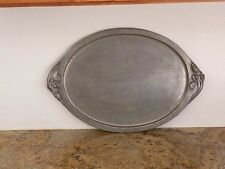 Vintage Serge Nekrassoff Hand Wrought Pewter Large Oval Hammered Rose Tray 22911