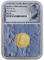 2019 Apollo 11 50th Anniv $5 Gold Commem NGC MS70 FR Moon Core SKU56519