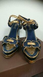 LOUIS VUITTON Navy/Gold Leather Ankle-strap Wedge Sandals EUR Size 36.5 JPN USED