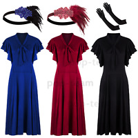 Flutter Sleeves Bow Vintage Rockabilly 50s 60s Swing Dress Picnic Evening Party