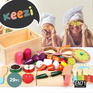 Keezi Kids Pretend Play Food Kitchen Wooden Toys Childrens Cooking Utensils Food