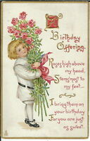 AI-042 - A Birthday Offering, Boy with Bouquet, 1907-1915 Golden Age Postcard