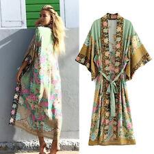 UK Womens Kimono Long Jacket Floral Print Coat Shirts Loose Cardigan Blouse Tops