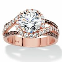 2.91 TCW Round Cubic Zirconia Rose Gold over Sterling Silver Engagement Ring