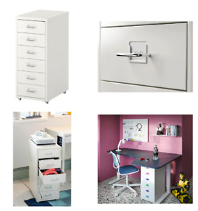 IKEA HELMER Schubladenelement auf Rollen in weiß 28x69cm Rollcontainer Schrank