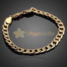 18K Yellow Gold Filled Men Women Bracelet Curb Chain Link Fashion Bangle Jewelry
