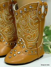 "TAN LT BROWN Western Studded Cowboy DOLL BOOTS SHOES fits 18"" AMERICAN GIRL DOLL"