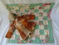 Antique Vintage Doll Quilt & No Face Handmade Cloth Doll