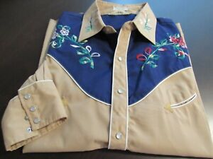 Vintage Men's Country Squire Long Sleeve Light Brown Shirt w Embroidery XL