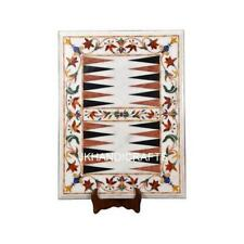 """18"""" x 24"""" White Marble Backgammon Pay Game Table To Inlay Hallway Decor Gifts"""