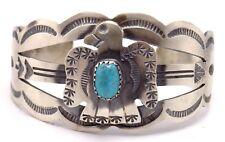 Navajo Handmade Kingman Turquoise Bracelet Set In Sterling Silver - Tim Yazzie