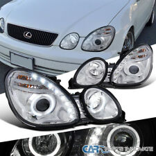 Fit 98-00 Lexus GS300 GS400 Replacement Clear LED Halo Projector Headlights Set