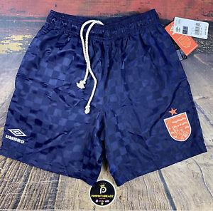 Mens Sz S Reversible LE Umbro X Coral Studios Navy Retro Checkered Soccer Shorts