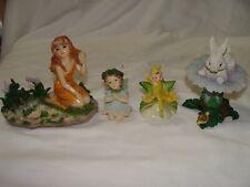 Four Miniature Fairy Figurines Some Signed