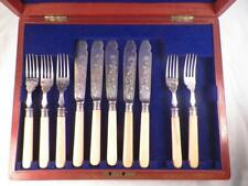 Victorian Flatware Set Silverplate in Box Wm Hutton & Sons Sheffield Floral 10Pc