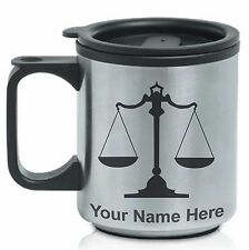 Coffee Travel Mug, Law Scale Lawyer Attorney, Personalized Engraving Included