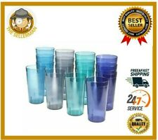 20 Oz Plastic Tumblers Reusable Cups Restaurant Cup Set Drinking Glasses Of 16