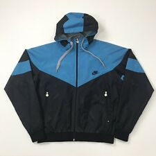 Vintage Retro Nike Windrunner Perforated Hoodie Jacket Sweater Blue/Black Size M