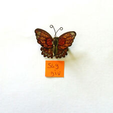 1 broche papillon métal rouge et orange et bronze dessous - 40x33mm - 549DIV