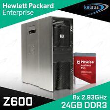 HP Z600 Workstation DUAL Xeon Quad Core X5570 CPU 24GB RAM Quadro Windows 10 PRO