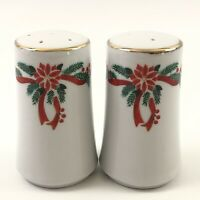Ceramic Christmas Salt and Pepper Shakers White with Wreath and Poinsettias