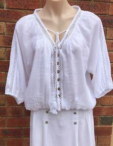 Single Layered Tassel Top White NWT Cotton Blend sizes AUS 10 12 14 16 18 20