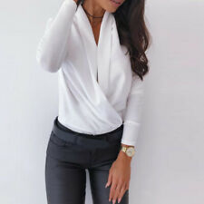Ladies Office Tops Blouse Casual Party Long Sleeve Slim Deep V-neck Wrap Shirt
