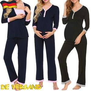 3in1 Stillpyjama Stillschlafanzug Umstandspyjama Schlafanzuge Nachtwäsche Set DE