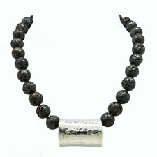 Simon Sebbag Sterling Gunmetal Plated Lava Necklace with Hammered Silver 925 Bea