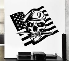 Wall Decal American Flag Skull Soldier Death War Knife Vinyl Stickers (ed146)