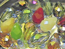15mm Mixed Colors Faceted Cut Crystal Teardrop Beads (100)