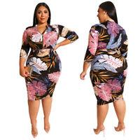 Womens Plus Size Casual Dress Flower Evening Cocktail Midi Skirt Bodycon Zipper