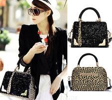 Women's Shoulder Bags Fashion Sequin Leopard Messenger Crossby Leather Handbags