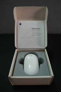 Genuine Apple USB Mighty Mouse (White) A1152 Clean Works Great in Box w/ Manuals