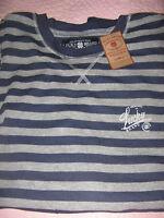 Lucky Brand men's L/S thermal Striped shirt blue grey M