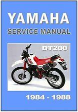 YAMAHA Workshop Manual DT200 1984 1985 1986 1987 1988 Maintenance Service Repair