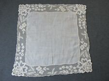 Vintage flowers & leaves embroidery tulle lace corners linen hanky 9587e