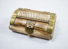 Antique Camel Bone Trinket Box Handmade 1950's Egypt Hand Crafted Container