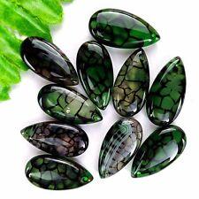 10Pcs Black & Green Dragon Veins Agate Teardrop Pendant Bead 30*15*6mm AE851