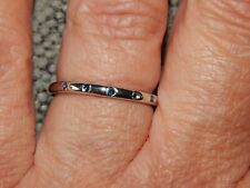 BLUE DIAMOND BUTTON THIN  BAND/STACKABLE RING-SIZE P-0.060CTS-WITH PLATINUM