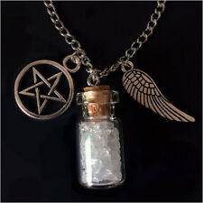 SUPERNATURAL Salt and Burn Protection Bottle Necklace angel wing pentagram demon